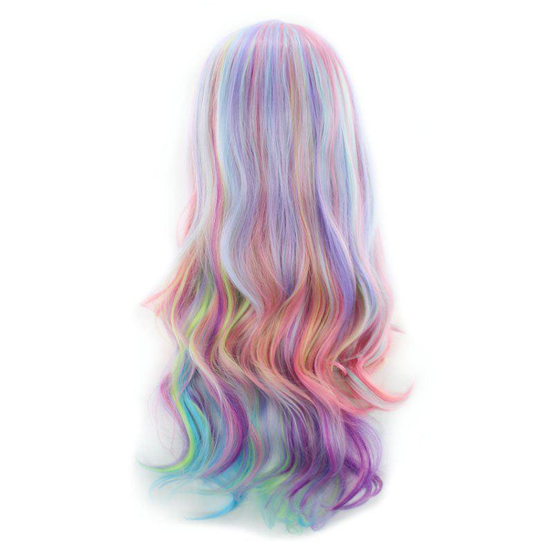Long Side Parting Colorful Layered Wavy Cosplay Synthetic Wig - COLORMIX
