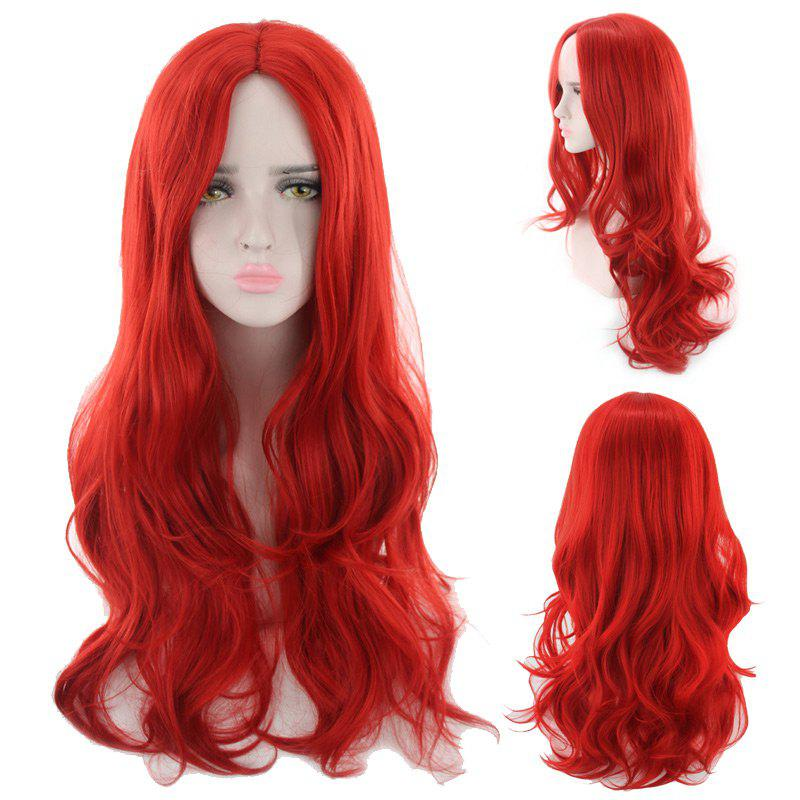 Long Middle Part Wavy Synthetic Cosplay Wig - RED