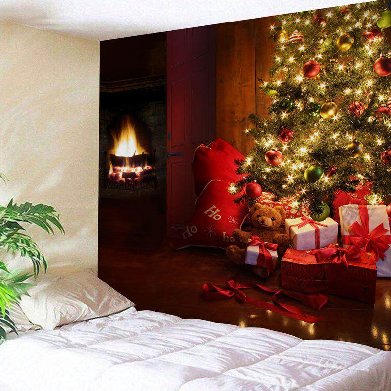 Christmas Tree Gift Fireplace Printed Wall Tapestry christmas tree photography background christmas lights fireplace wall decors backdrop xt 4525