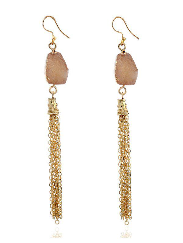 Natural Stone Fringed Chain Hook Earrings - COFFEE