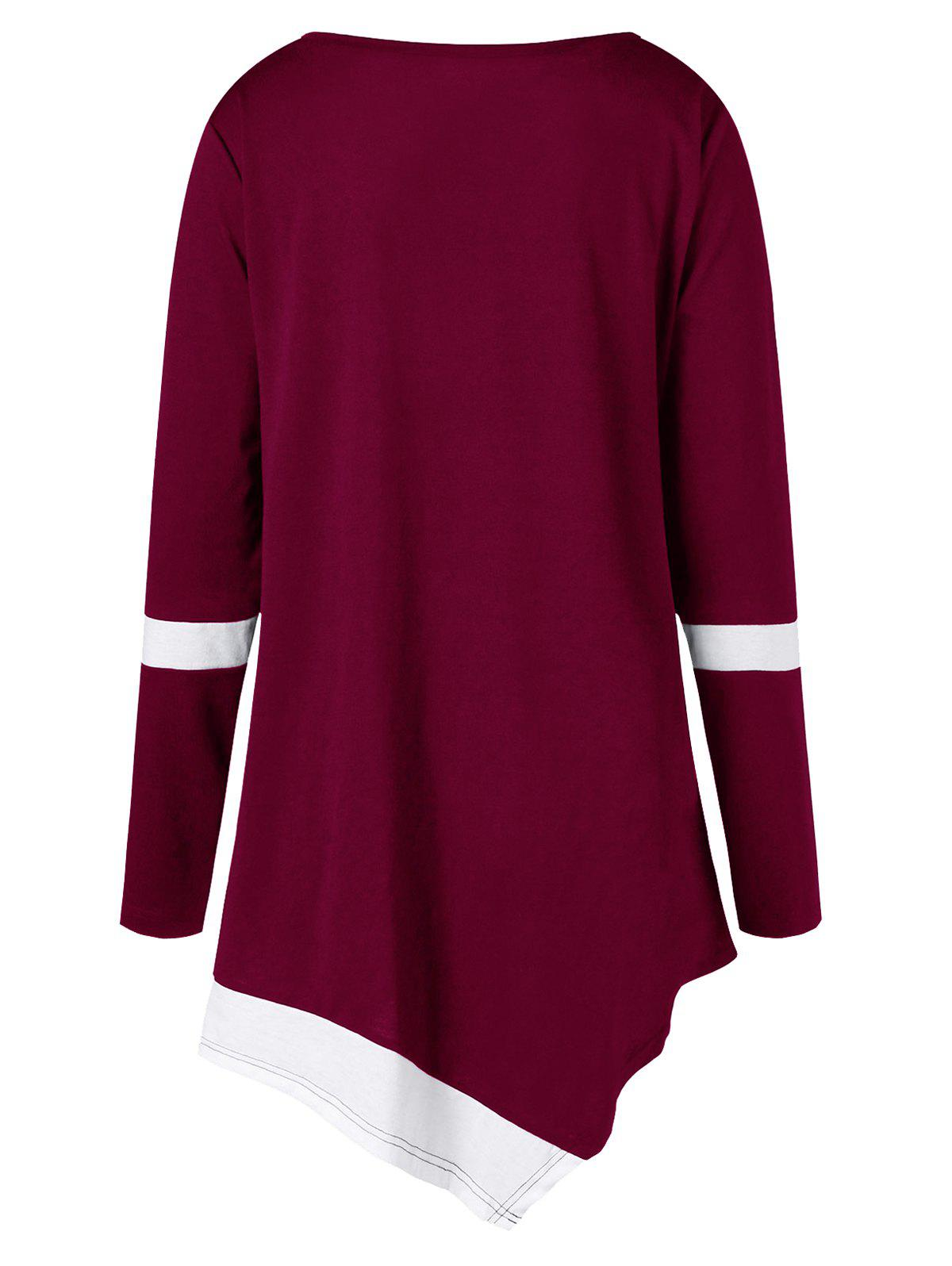 Plus Size Two Tone Color Asymmetric Top - WINE RED 5XL