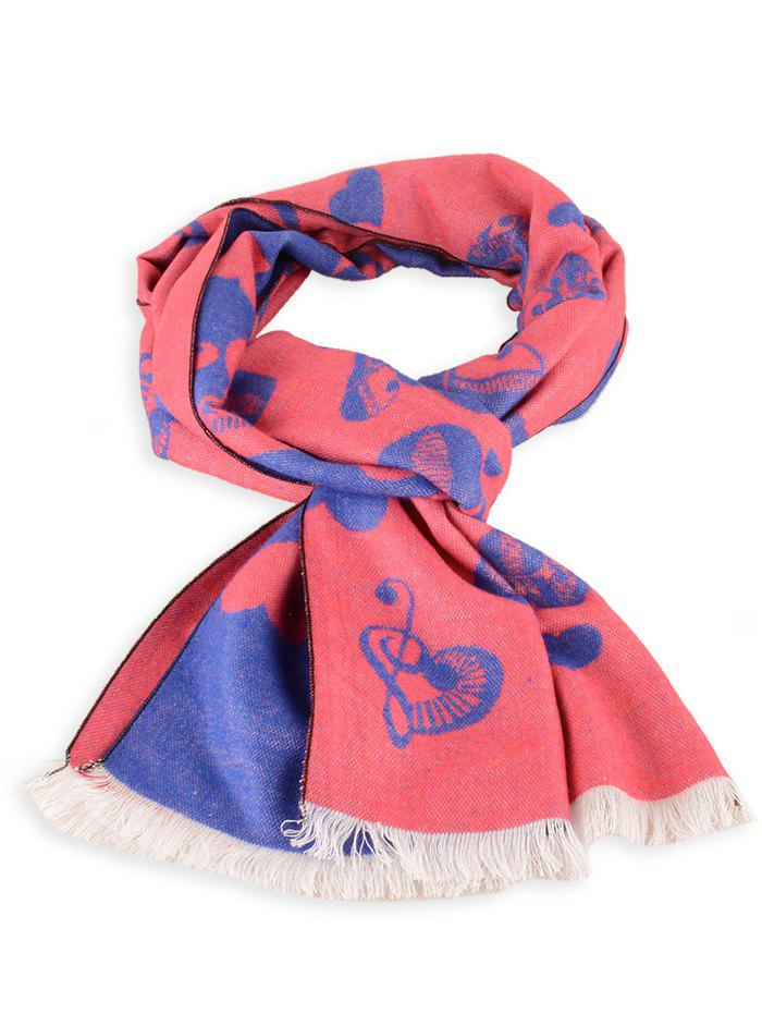 Letter Heart Pattern Fringed Edge Winter Scarf - PEARL ROYAL BLUE