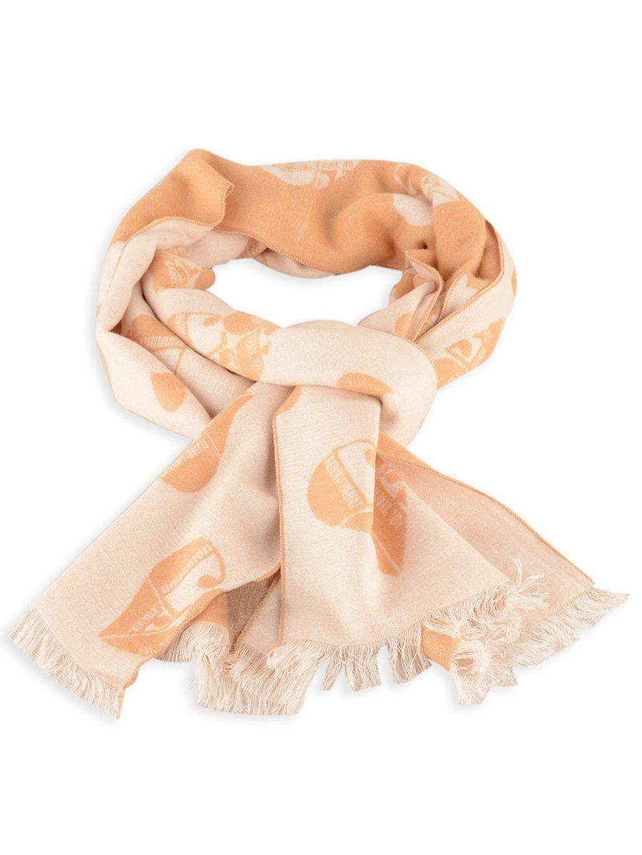 Letter Heart Pattern Fringed Edge Winter Scarf - LIGHT BROWN