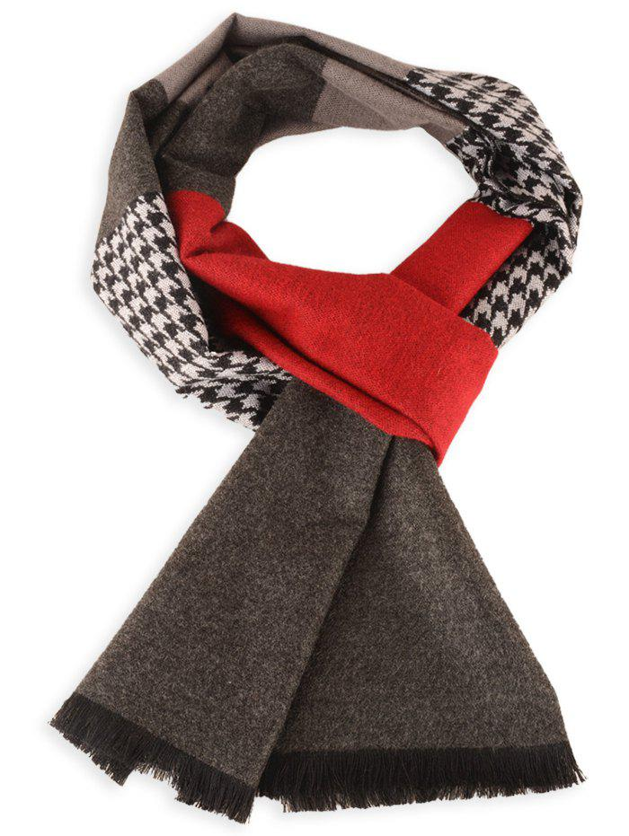 Houndstooth Pattern Fringed Edge Winter Scarf fringed scarf with houndstooth and checked pattern