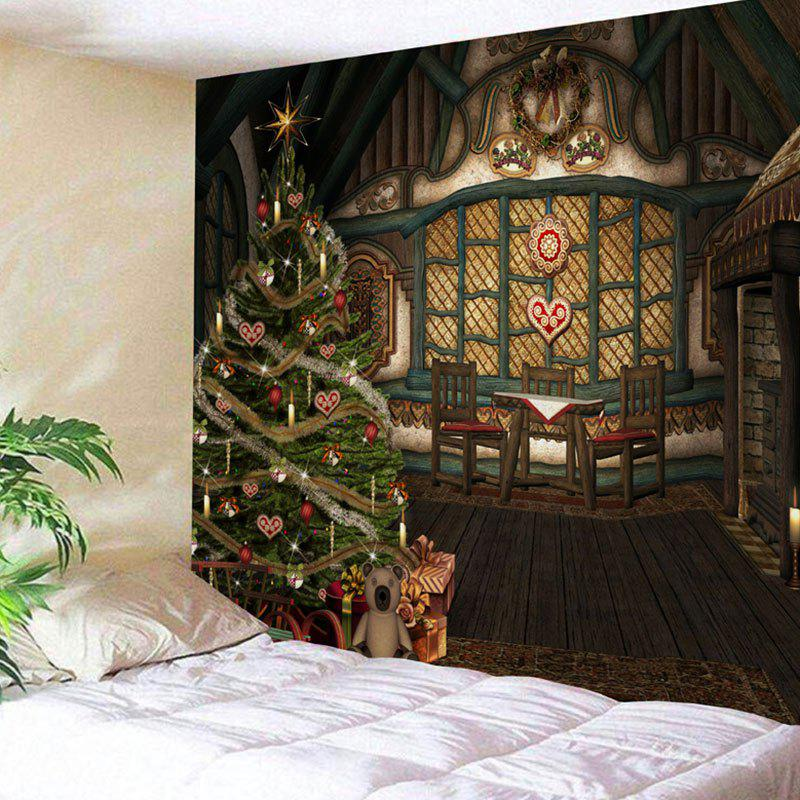Wooden House Christmas Tree Print Wall Decor Tapestry