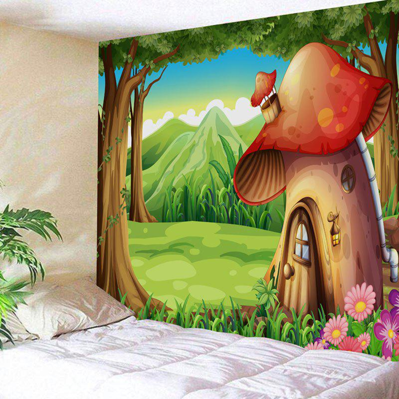 Cartoon Forest Mushroom House Print Wall Hanging Tapestry wild edible mushroom in forest ecosystem