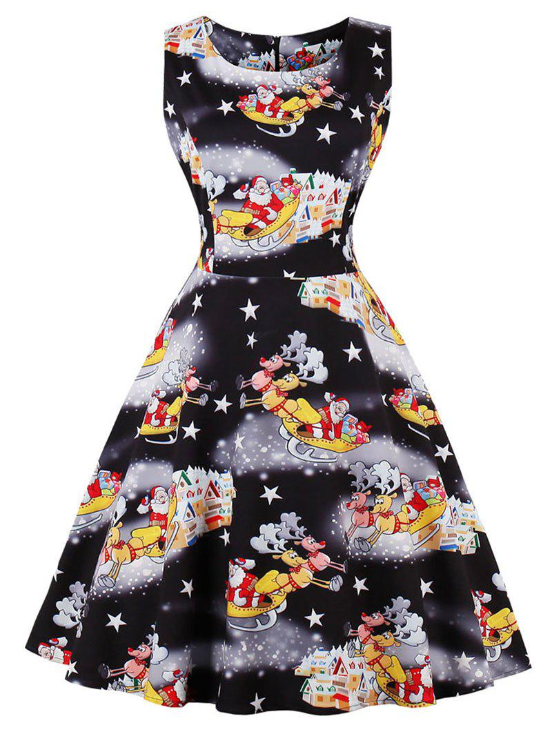 Vintage Santa Claus Print Christmas Party Dress - BLACK L