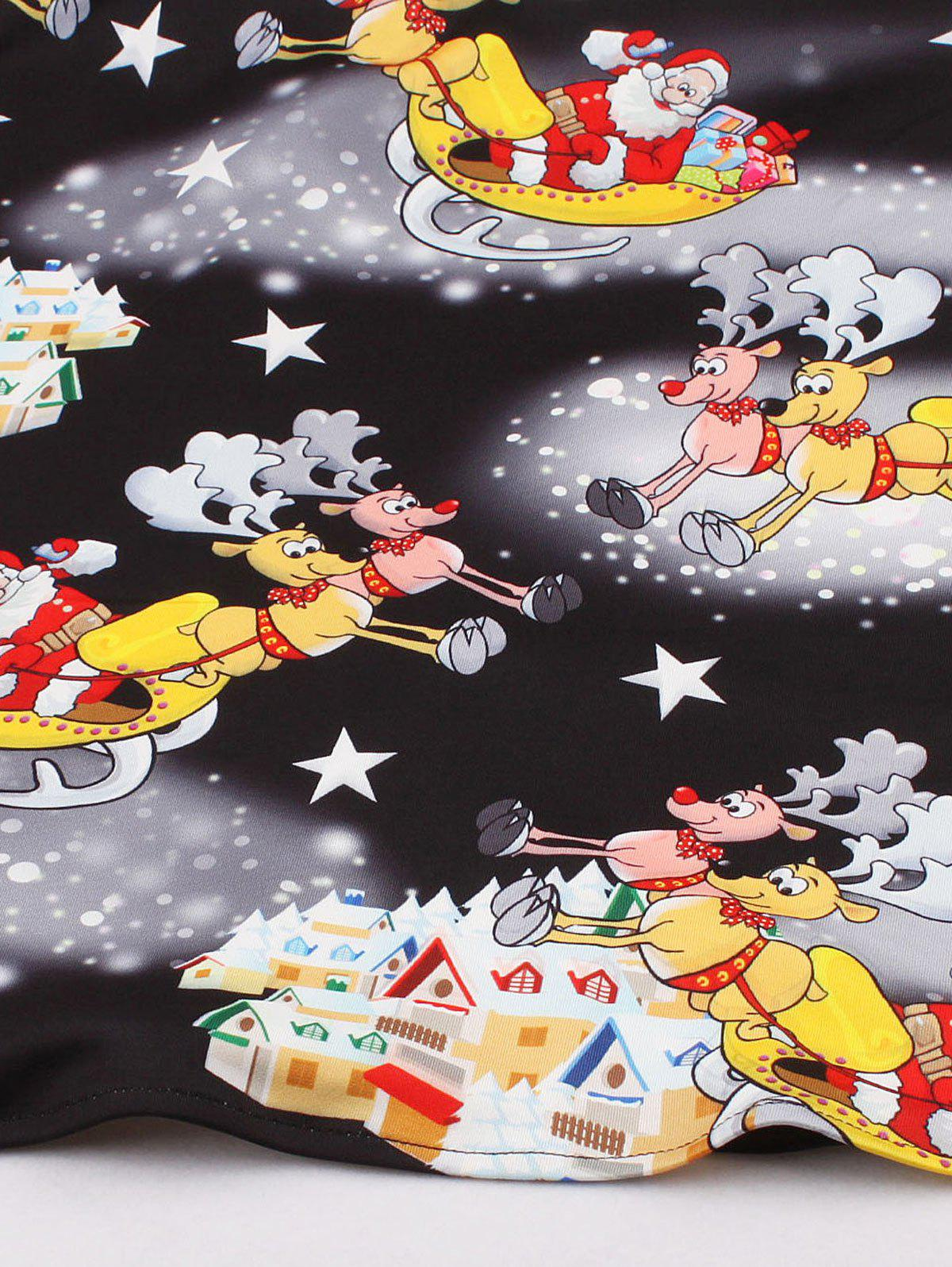 Vintage Santa Claus Print Christmas Party Dress - BLACK XL