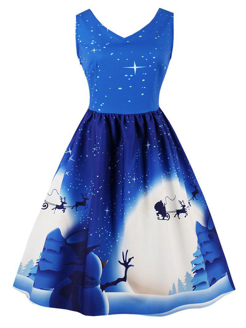 Vintage Christmas Moon Print Pin Up Dress - BLUE XL