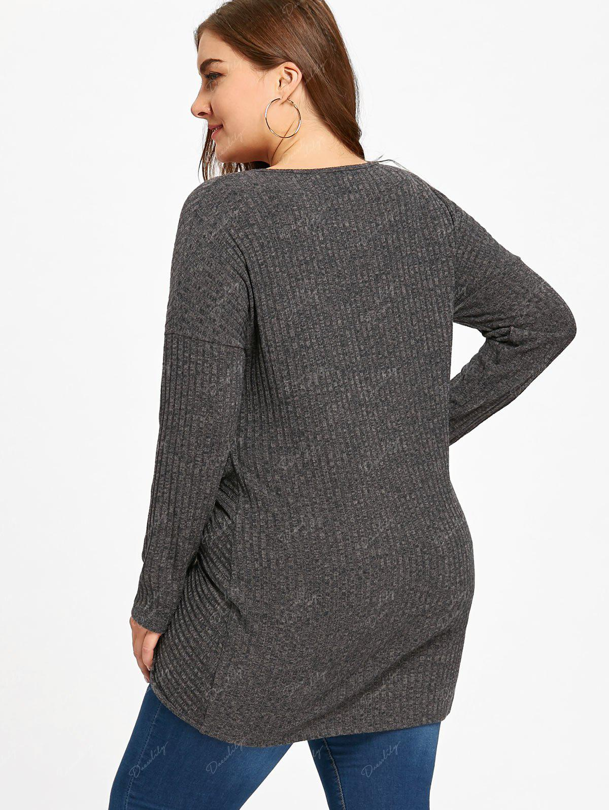 Plus Size Keyhole Neck Crossover Knitwear - BLACK GREY 5XL