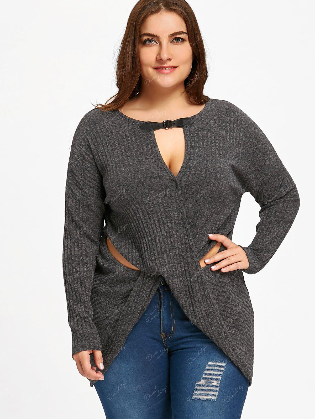 Plus Size Keyhole Neck Crossover Knitwear - BLACK GREY 4XL