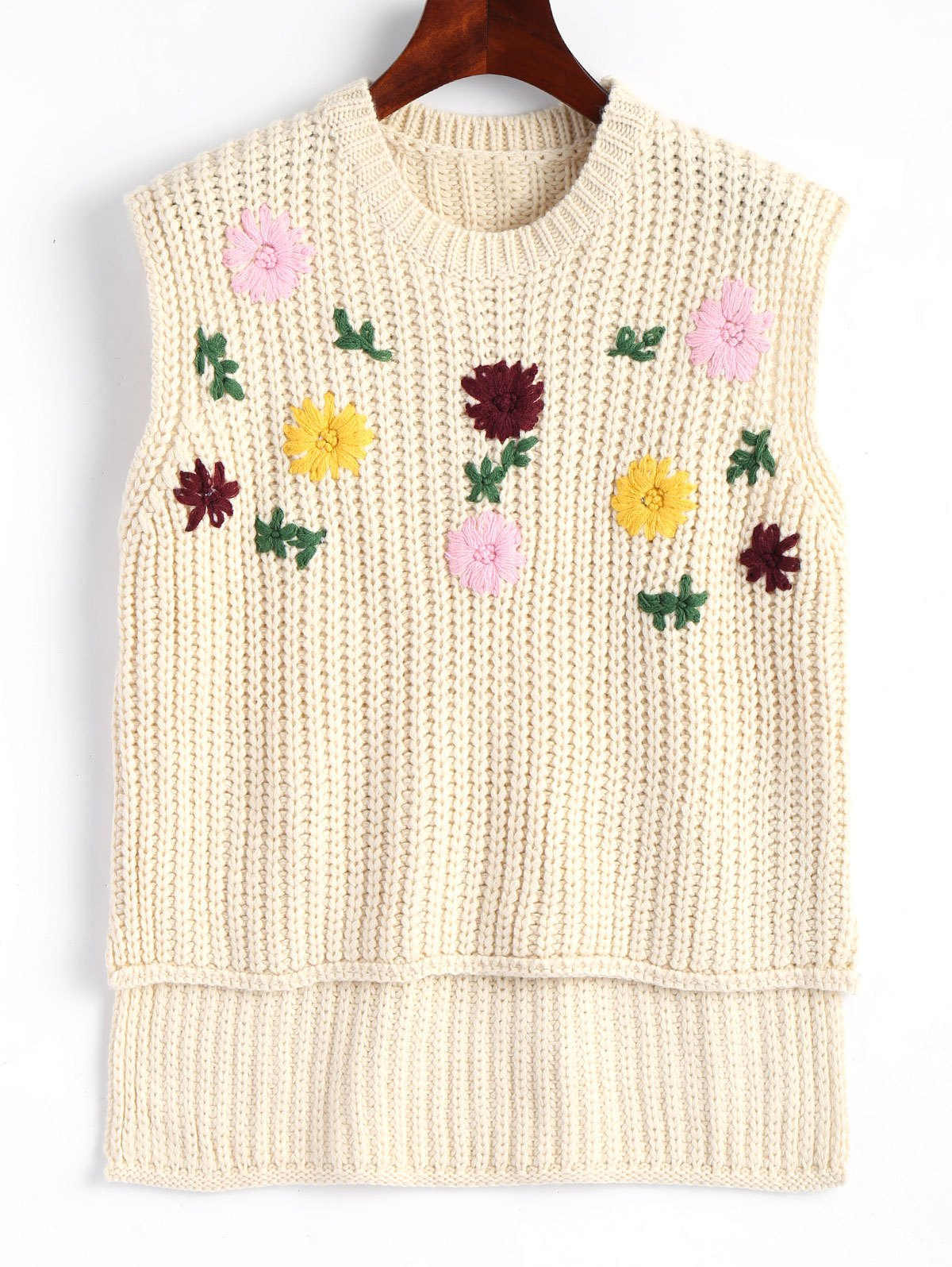 Floral Embroidered High Low Vest Sweater - OFF WHITE ONE SIZE
