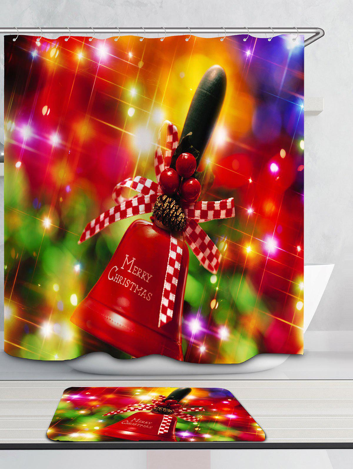 Christmas Handbell Pattern Waterproof Shower Curtain - COLORFUL W71 INCH * L79 INCH