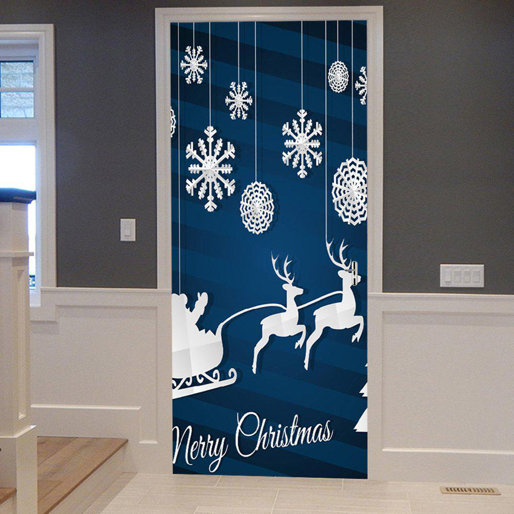 Christmas Deer Snowflake Pattern Door Stickers - BLUE 38.5*200CM*2PCS