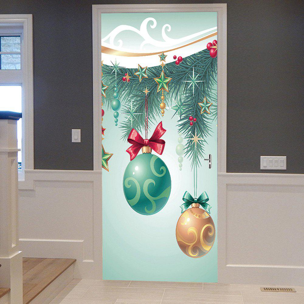 Christmas Tree Baubles Pattern Door Stickers - COLORMIX 38.5*200CM*2PCS