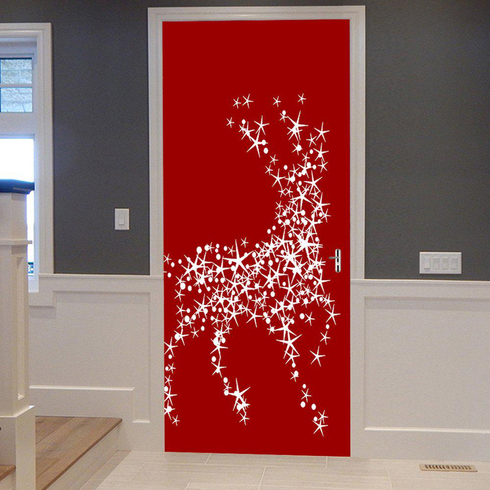 Christmas Star Deers Balls Pattern Door Stickers - RED 38.5*200CM*2PCS