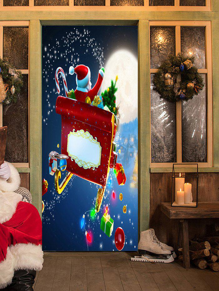 Christmas Santa with Gifts Pattern Door Stickers - COLORMIX 38.5*200CM*2PCS