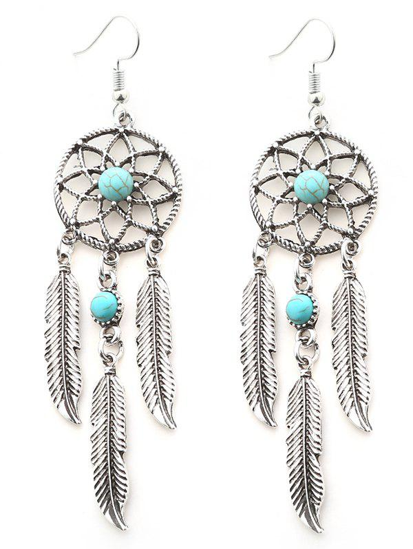 Faux Turquoise Dream Catcher Feather Earrings - SILVER