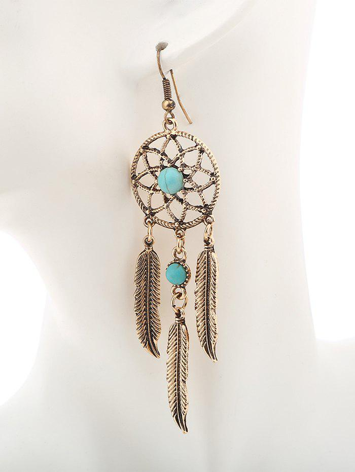Faux Turquoise Dream Catcher Feather Earrings - GOLDEN