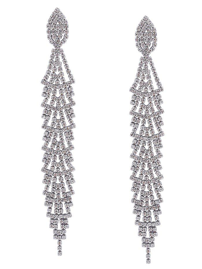 Faux Silver Crystal Long Dangle Earrings - SILVER