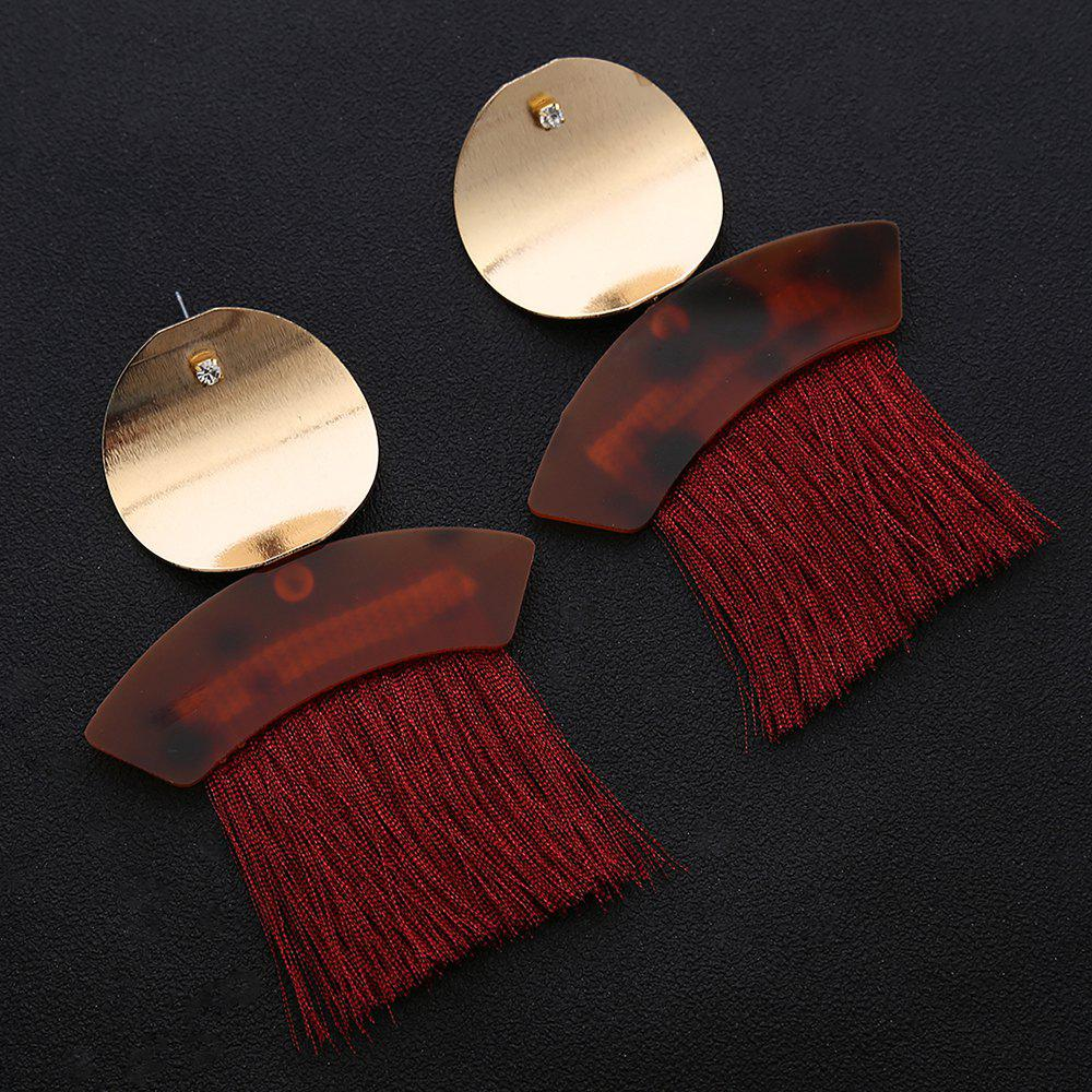 Metal Round Shape Fringed Ethnic Drop Earrings - RED