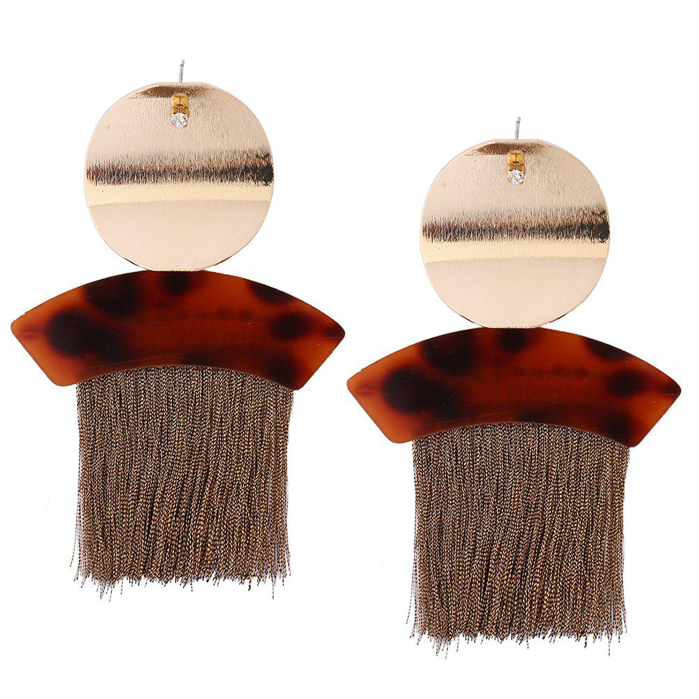 Metal Round Shape Fringed Ethnic Drop Earrings - BROWN