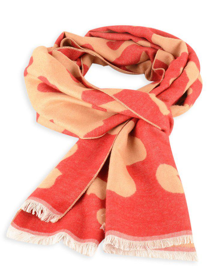 Fringed Edge Cow Skin Winter Scarf - RED
