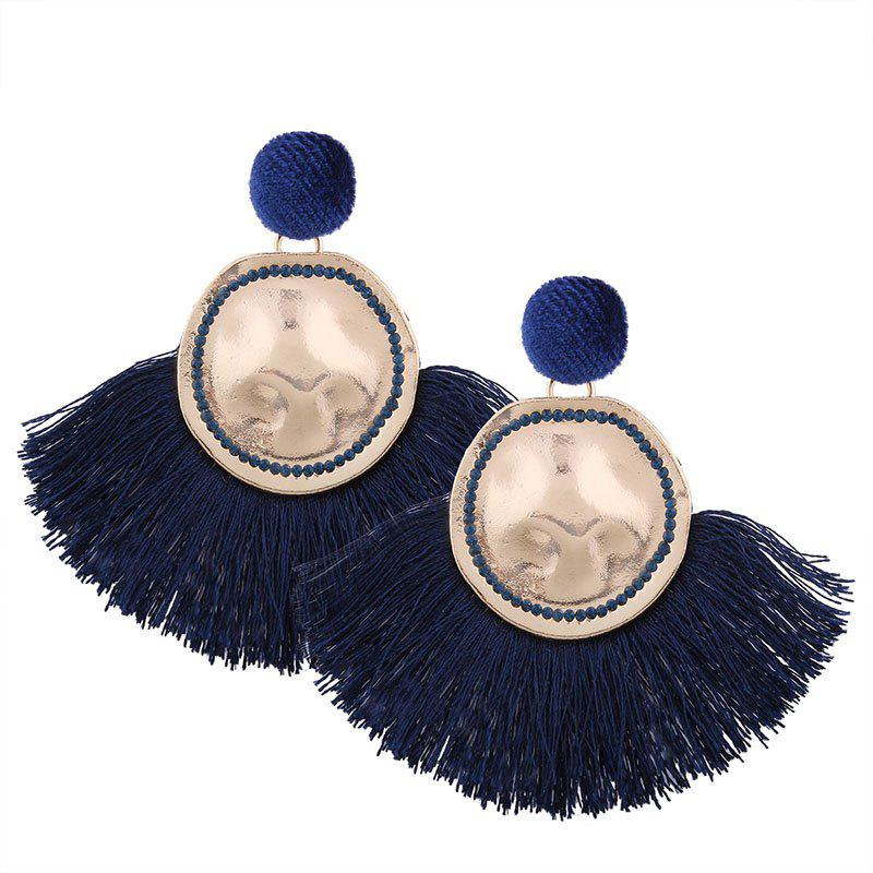 Hammered Fringed Drop Earrings - CERULEAN
