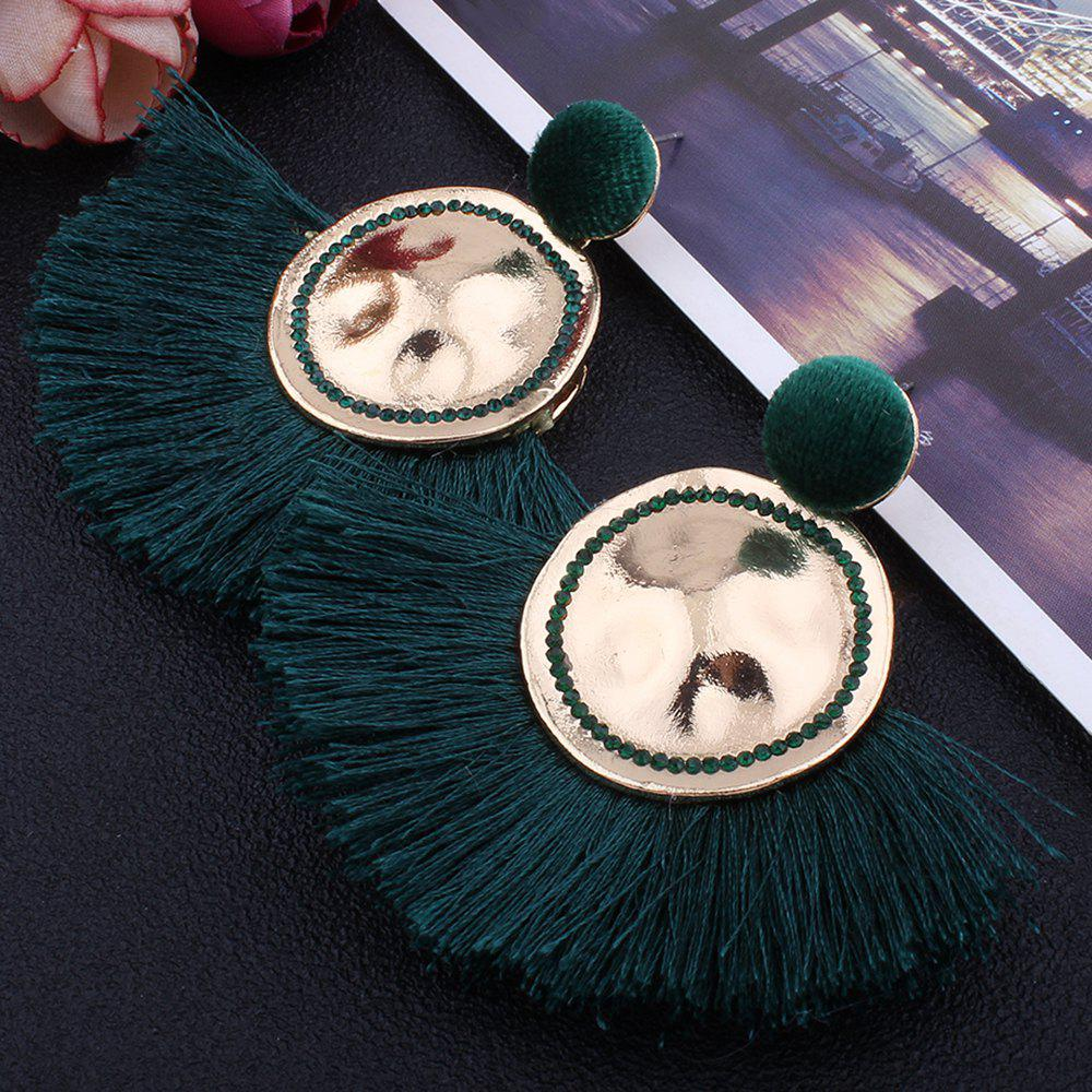 Hammered Fringed Drop Earrings - GREEN