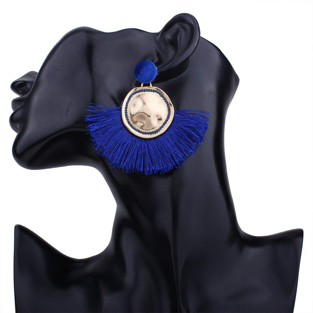Hammered Fringed Drop Earrings - BLUE