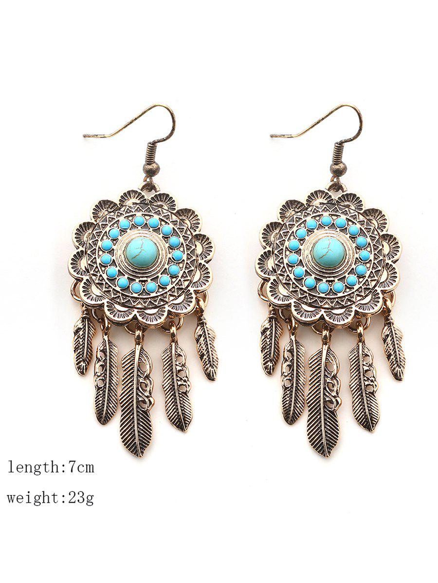 Bohemian Faux Turquoise Blossom Feather Earrings - GOLDEN