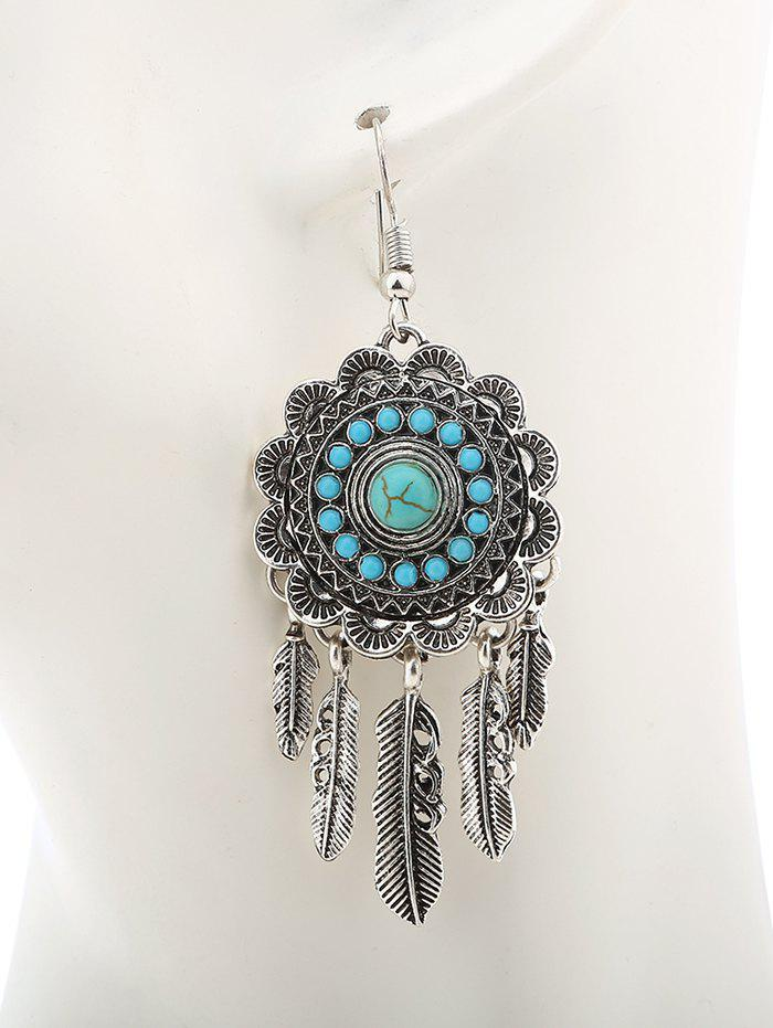 Bohemian Faux Turquoise Blossom Feather Earrings - SILVER