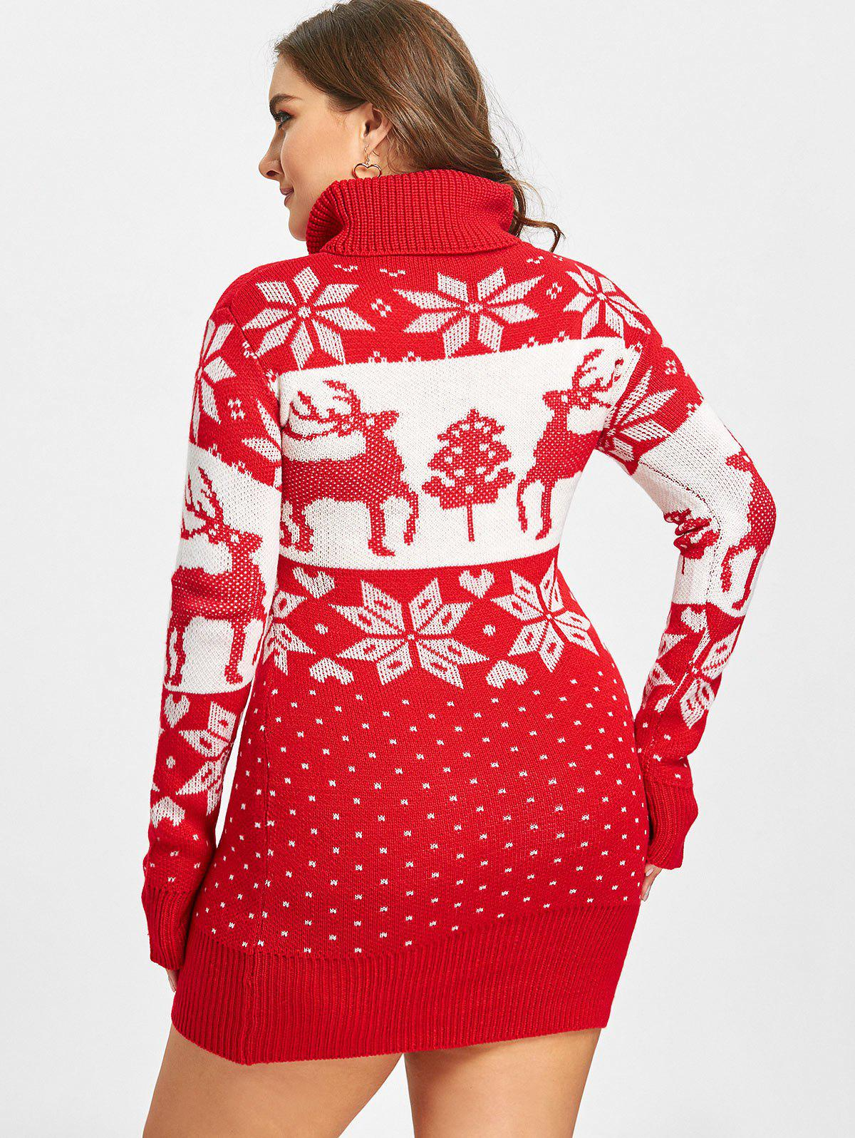 Plus Size Christmas Elk Snowflake Jacquard Sweater - RED 2XL