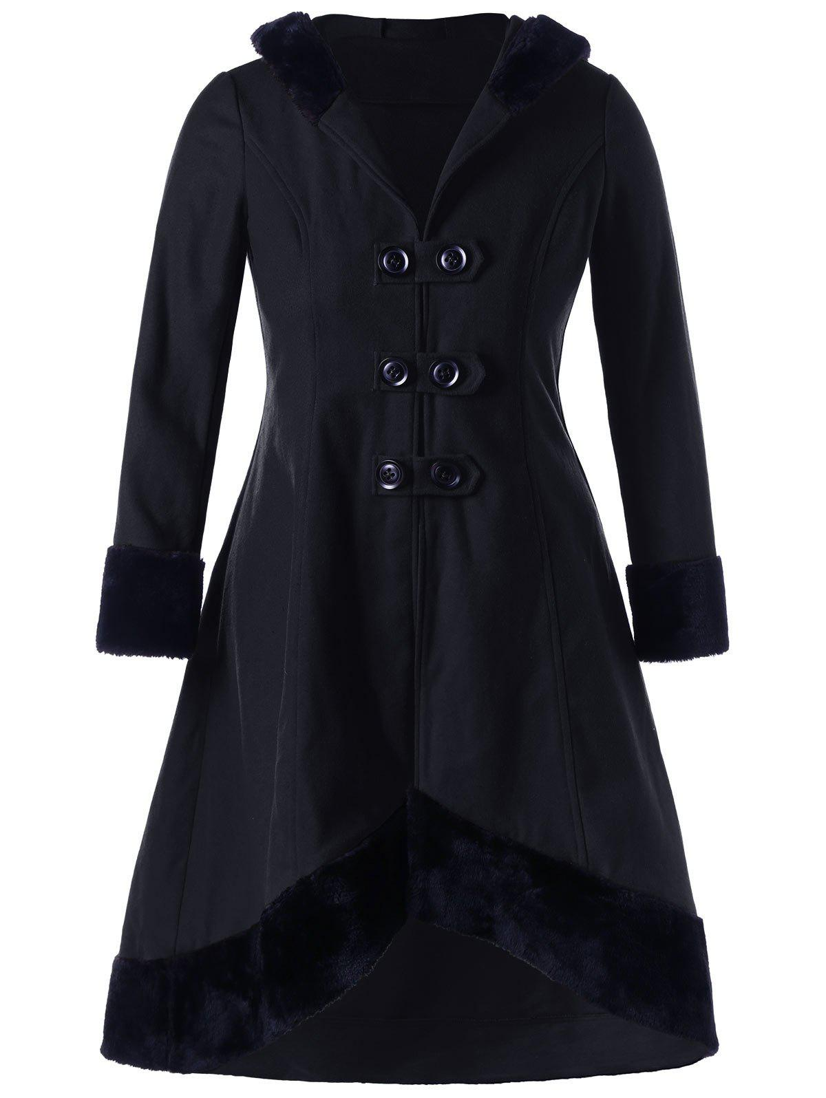 Plus Size Lace Up Hooded Coat - BLACK 5XL