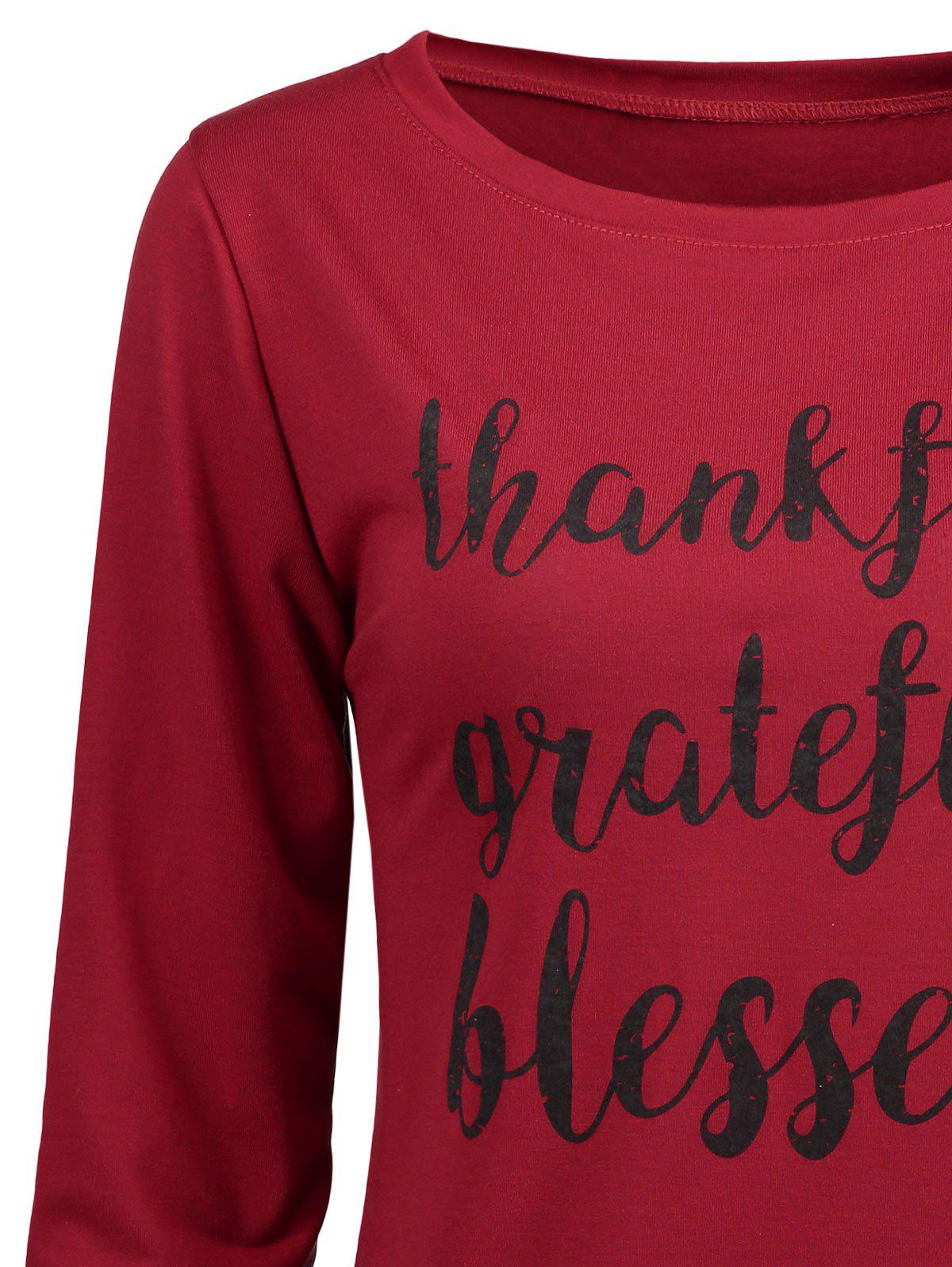 Thanksgiving Grateful Thankful Sweatshirt - WINE RED S