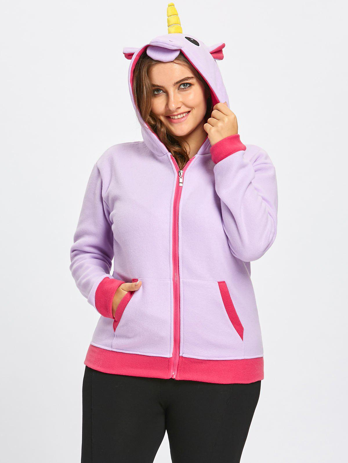 Fleece Plus Size Unicorn Zipper Hoodie with Pocket plus size plain drop shoulder hoodie with pocket