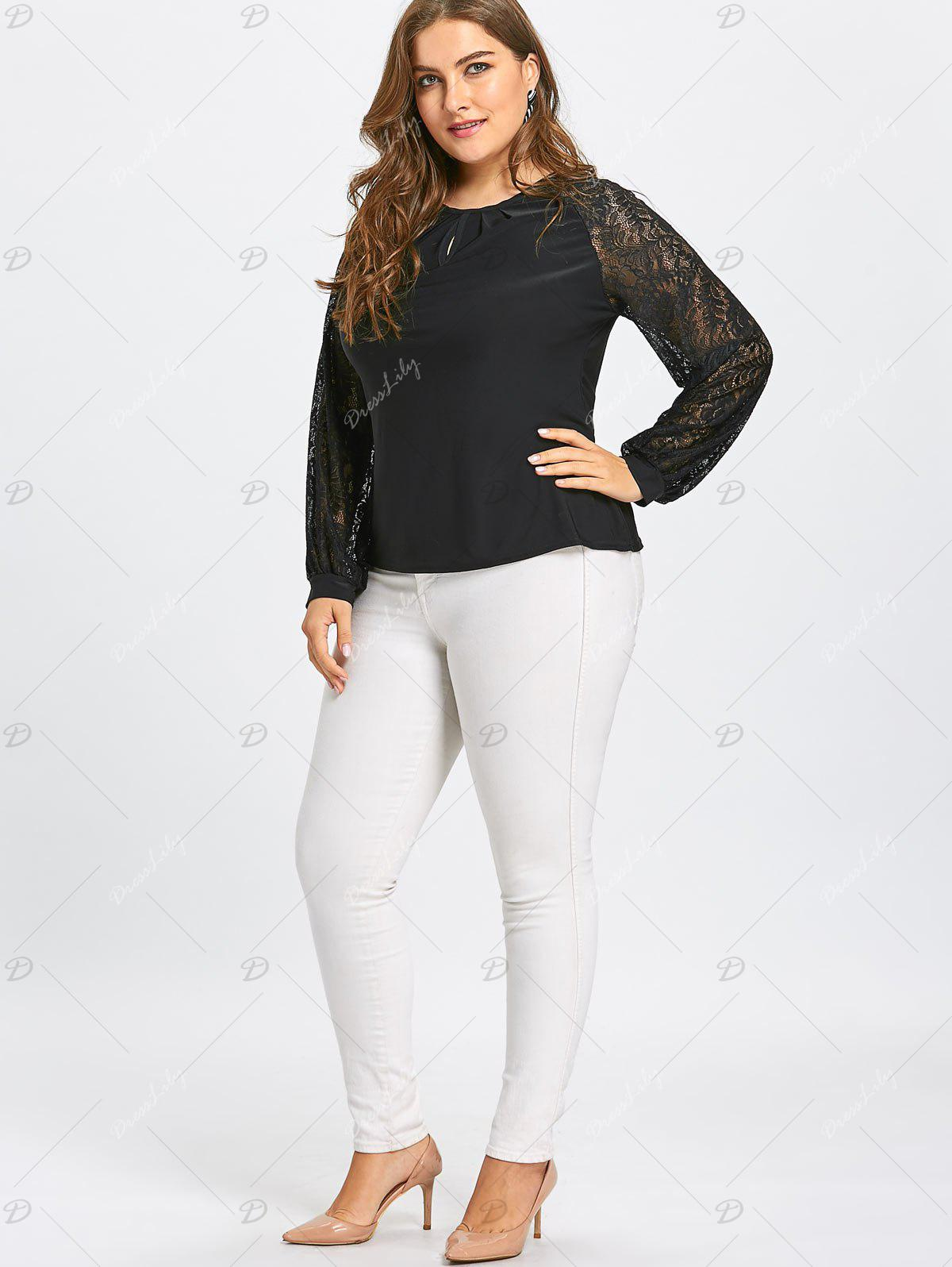 Crinkle Plus Size Sheer Long Lace Sleeve T-shirt - BLACK 3XL