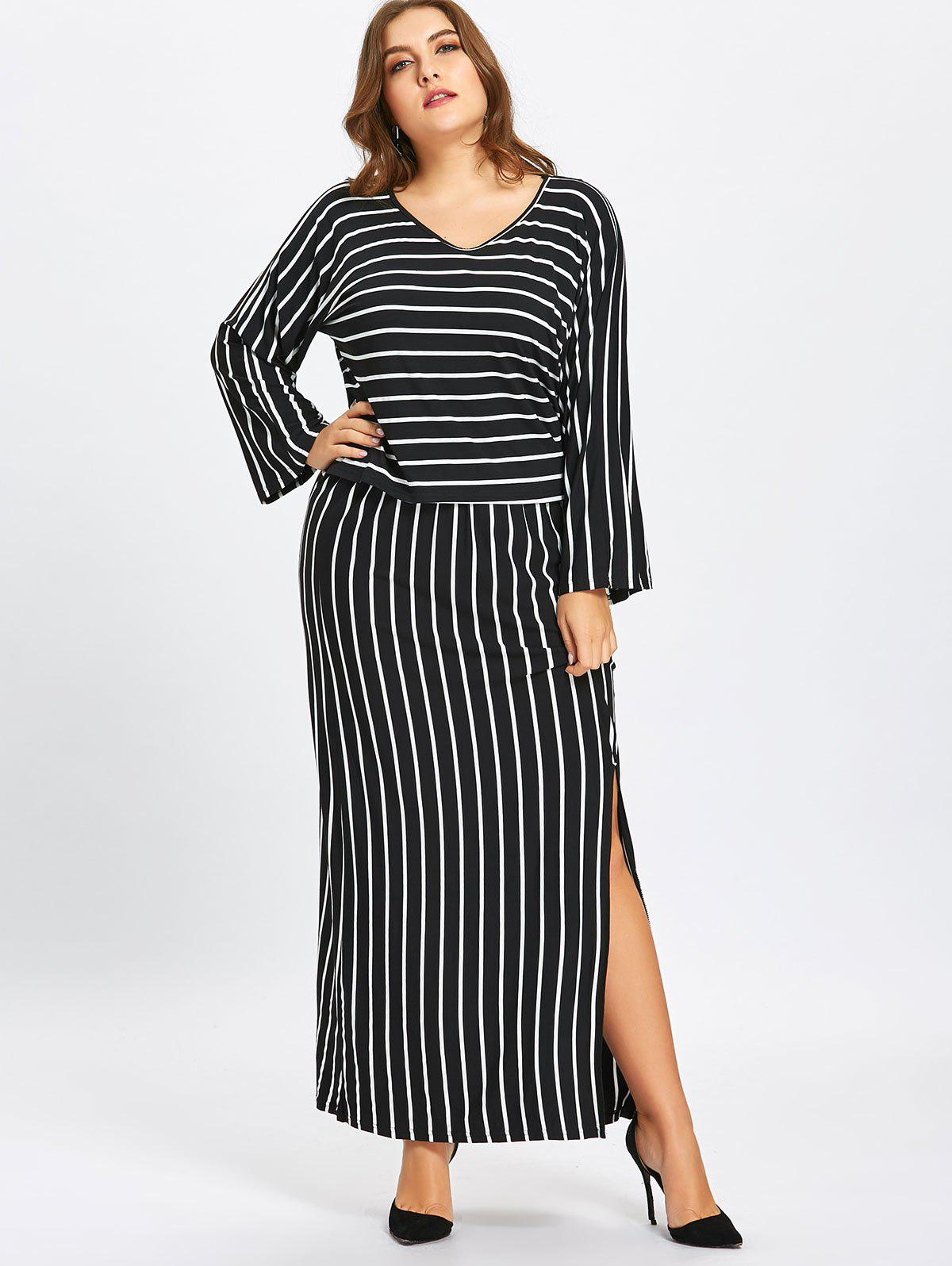 Striped T-shirt and Pencil Skirt Twinset - BLACK 5XL
