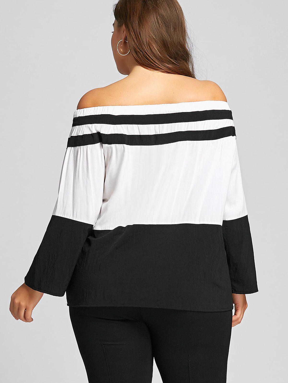Plus Size Color Block Off The Shoulder Tee - WHITE 7XL