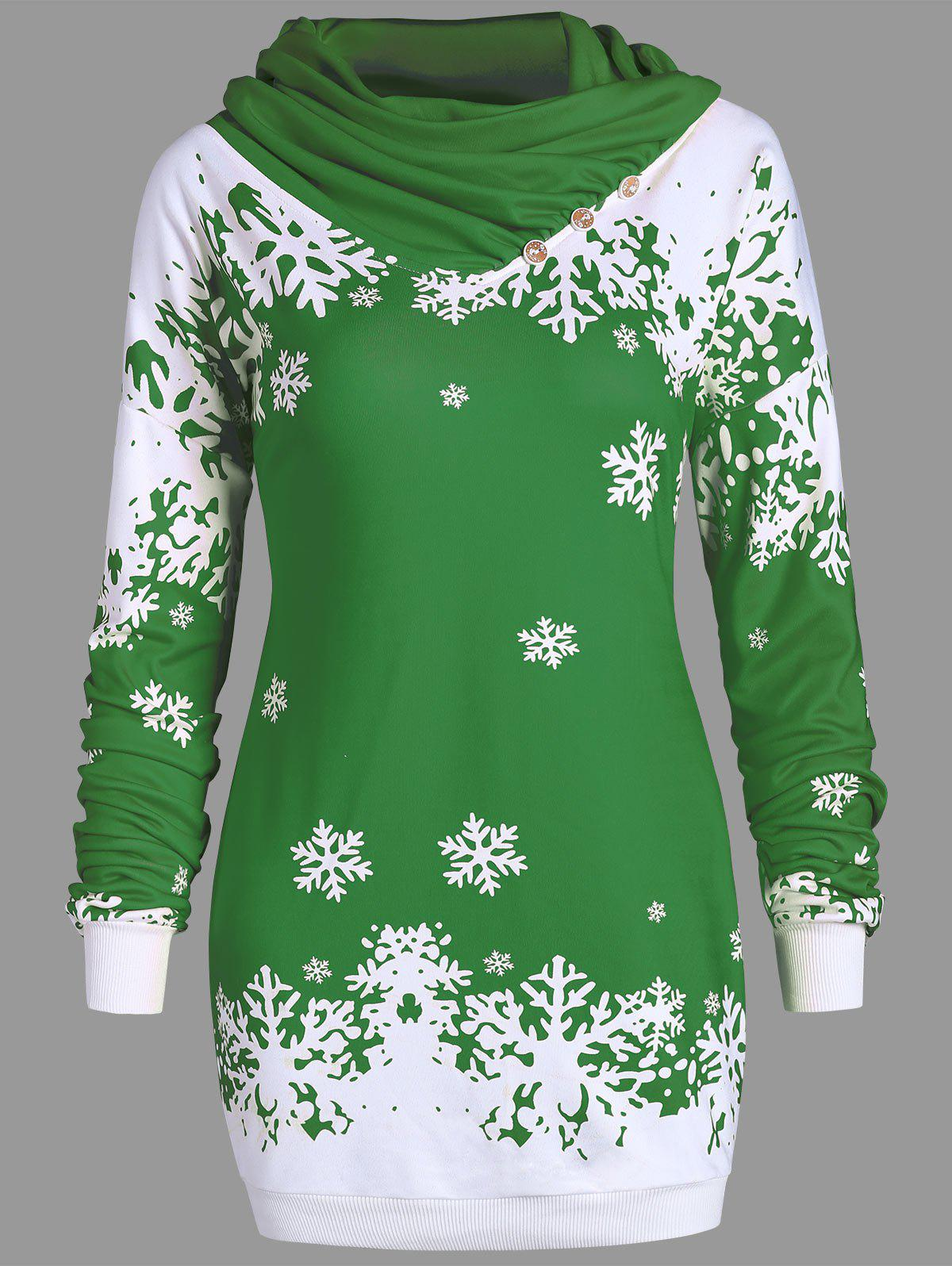Cowl Neck Christmas Snowflake Longline Sweatshirt - GREEN 2XL