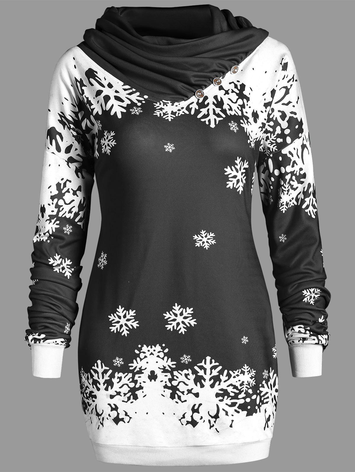 Cowl Neck Christmas Snowflake Longline Sweatshirt - BLACK 2XL
