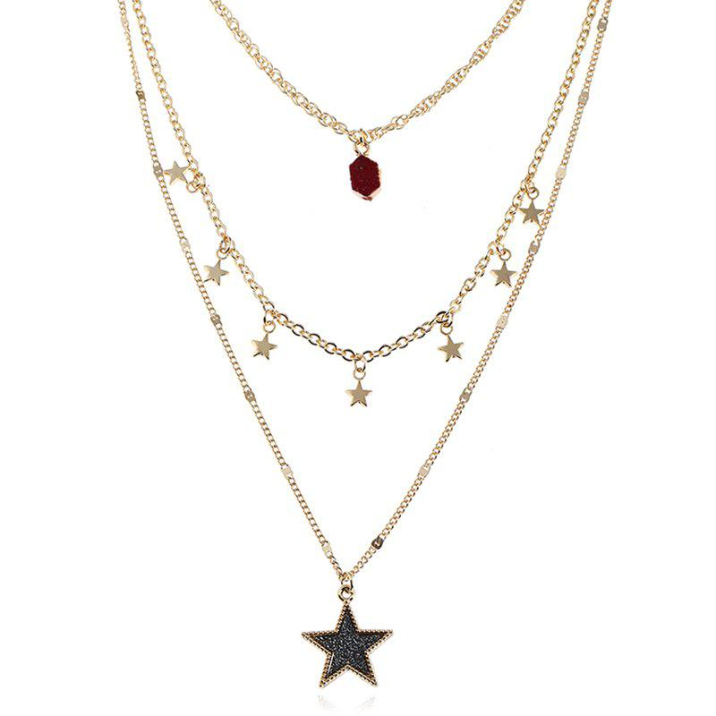 Faux Gem Layered Star Pendant Necklace - DARK RED