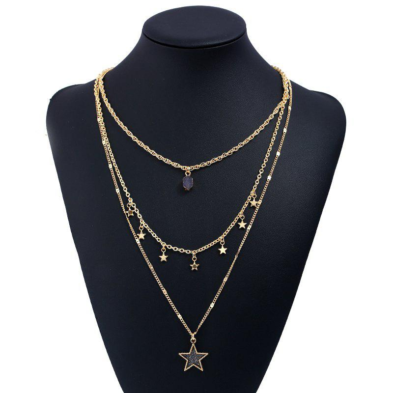 Faux Gem Layered Star Pendentif Collier - INK BLUE
