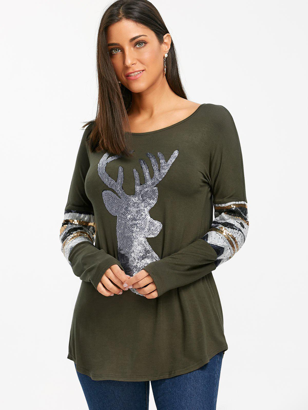 Christmas Deer Patterned Sequin Long Sleeve Top - ARMY GREEN L