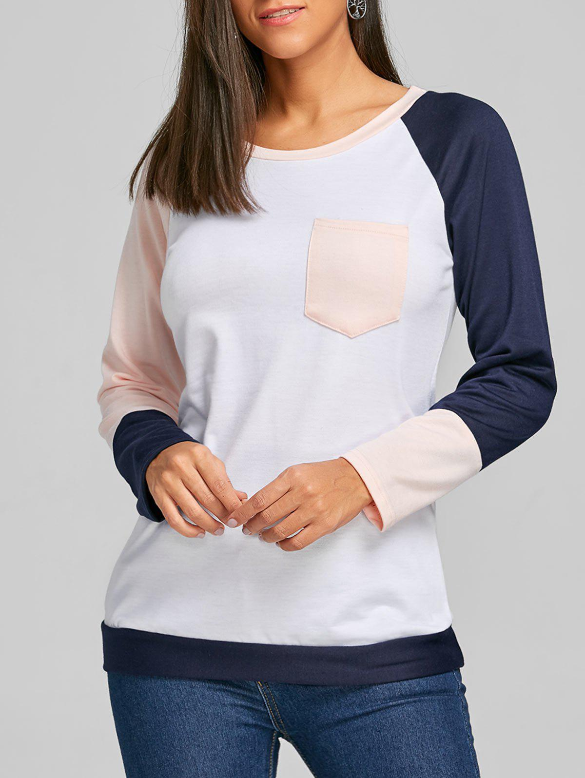 Raglan Long Sleeve Color Block Top - ORANGEPINK L