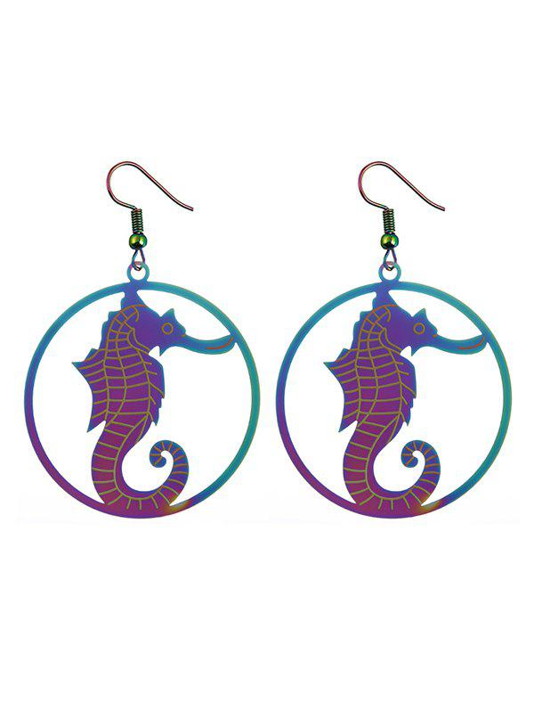 Circle Hippocampus Hook Drop Earrings - COLORMIX