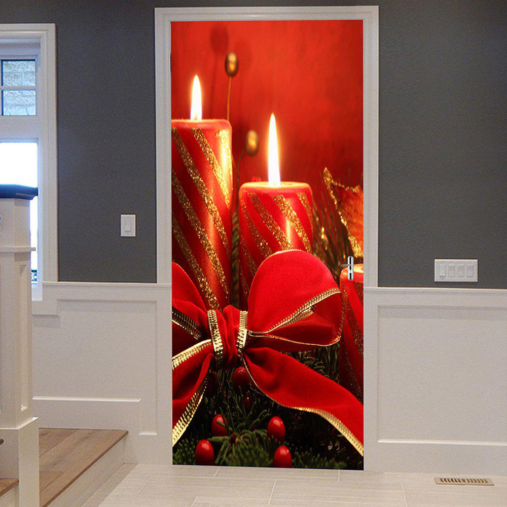 Christmas Candles Pattern Door Stickers - RED 38.5*200CM*2PCS