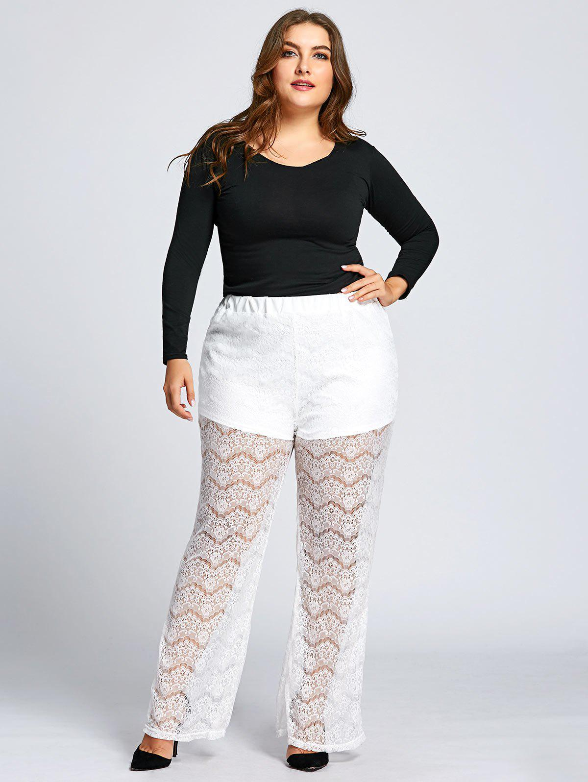 See Through Plus Size Lace Pants - WHITE 7XL