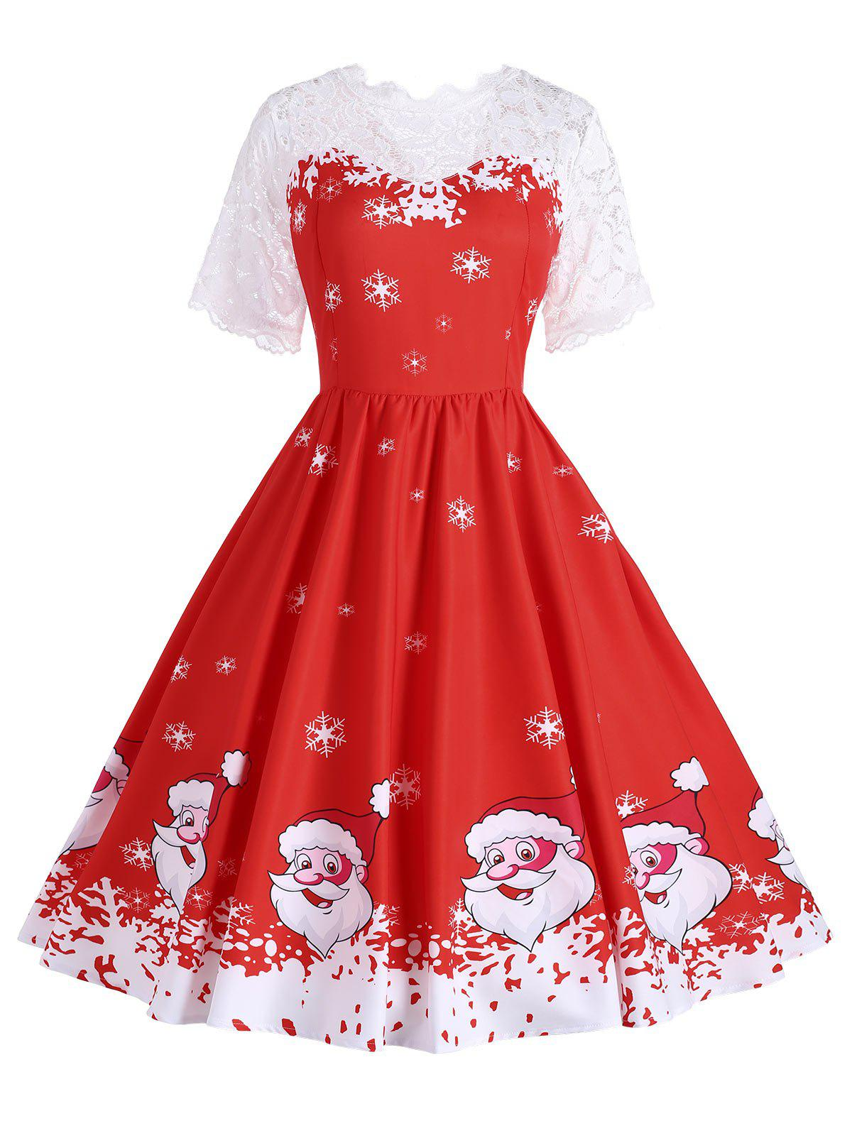Plus Size Santa Claus Snowflake Christmas Dress - RED XL