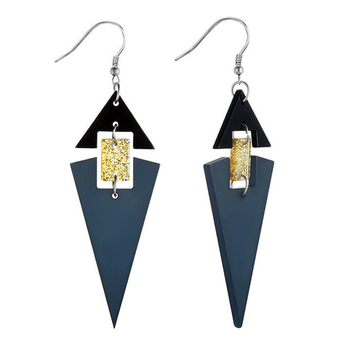 Acrylic Geometric Linked Stud Drop Earrings - BLUE